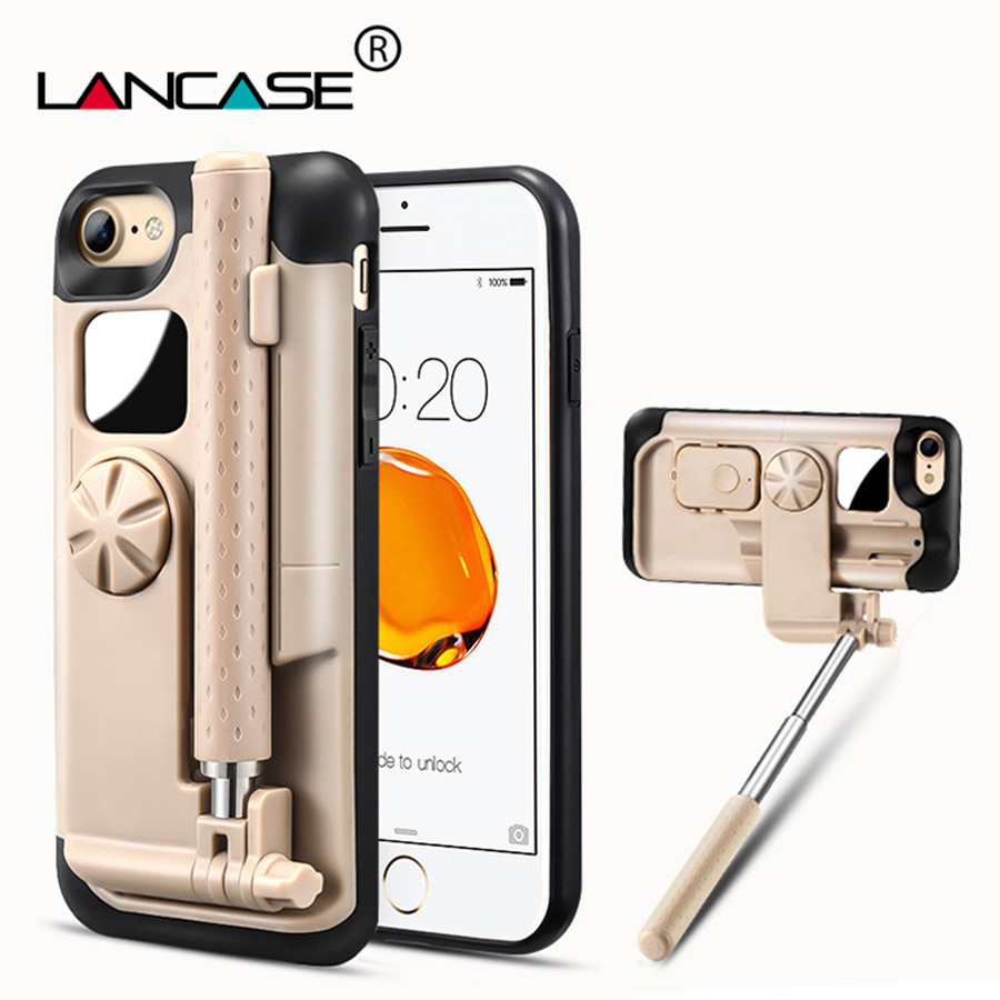 LANCASE Selfie Stick Phone Case For iPhone 8 Cover Bluetooth Portable Stretch Handheld Case For iPhone 8 Plus Selfie Case Hoesje
