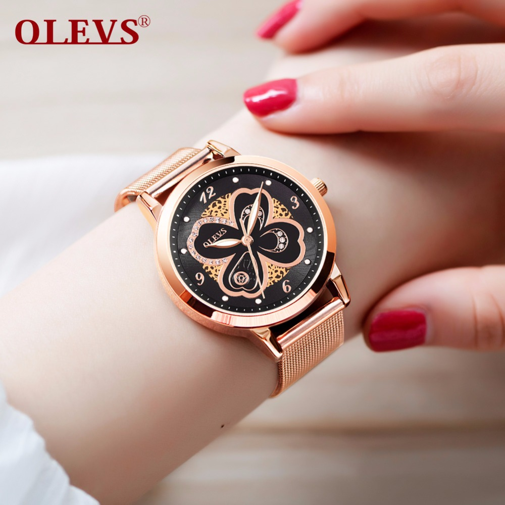 OLEVS 2018 Ladies Rose gold Mesh Stainless Steel Watches Women Watch Luxury Casual Clock Ladies Wrist Watch montre femme relogio montre luxury watches women gold stainless steel analog quartz watch ladies fashion geneva wrist watch clock reloj relogio zer