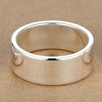 8MM Free Engraving Letter 999 Sterling Silver Ring Simple Rings For Woman Men Lovers Custom Letter Logo