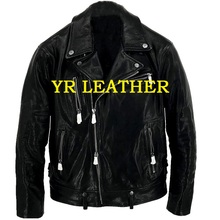 YR!Free shipping.Pakistan tanning sheepskin.Luxury US classic biker style leather jacket,fashion slim genuine leather coat,