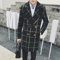 2016 exclusivo retro verde hombres abrigo largo caballero delgado P120 W726