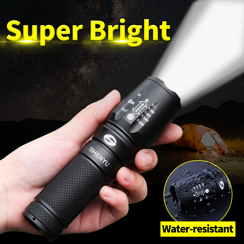 SHENYU Senter LED 18650 26650 Torch Senter Tahan Air Cree XML t6 1000 lumen Cahaya Zoomable