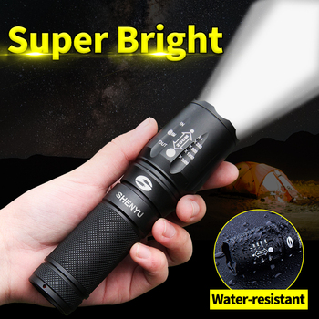 SHENYU LED Flashlight 18650 26650 Torch Waterproof Flashlight Cree XML t6 1000 lumen Zoomable Light