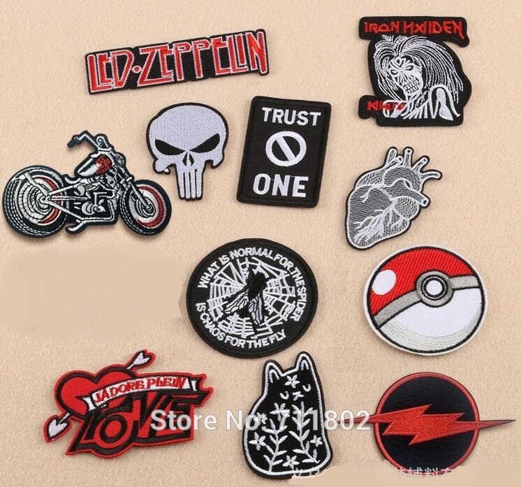 Cool Iron On Patches Motorbike Heart Accessories Biker Vest Patch