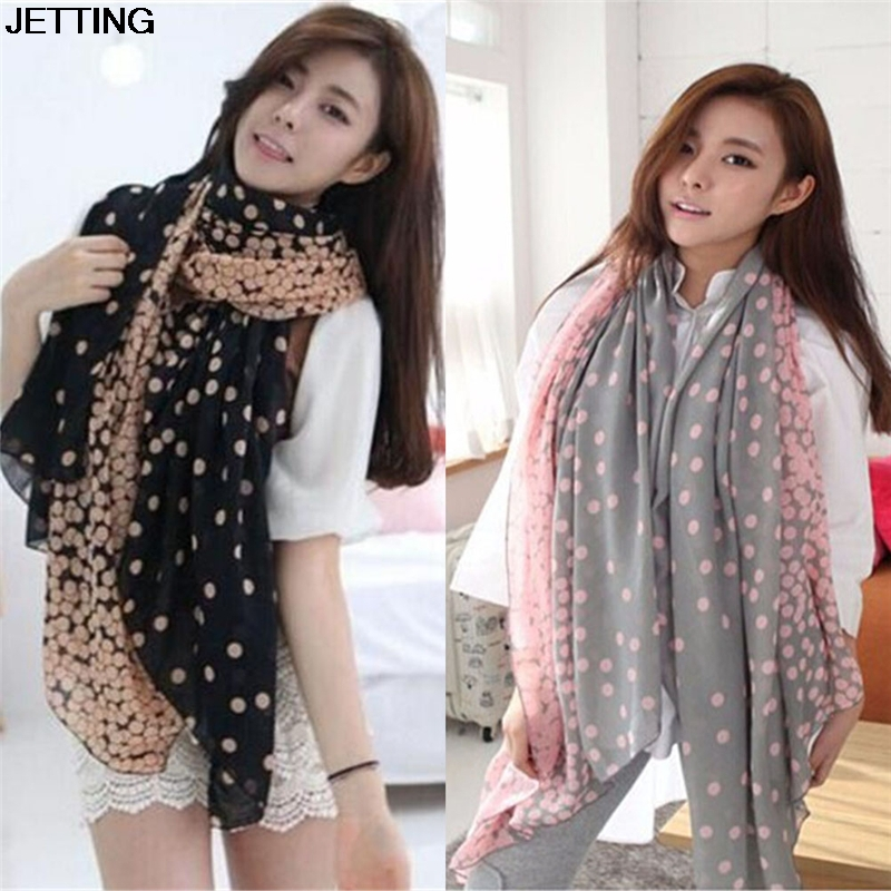 2 Colors Hot Women Lady Spring Autumn Warm Soft Long Voile Neck Large Dots   Scarf     Wrap   Shawl Pink Grey