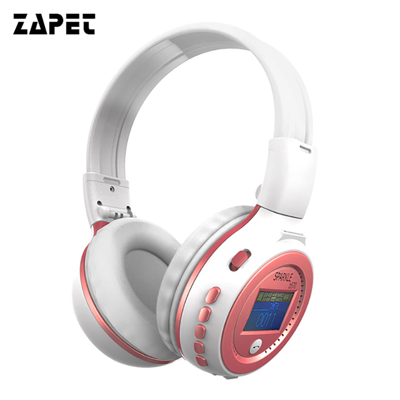 ZAPET B570 Wireless Stereo LCD Bluetooth Headphone MP3 Headset Foldable FM/SD Card Headset with mirc For iPhone PC phone MP3 zealot b570 headset lcd foldable on ear wireless stereo bluetooth v4 0 headphones with fm radio tf card mp3 for smart phone
