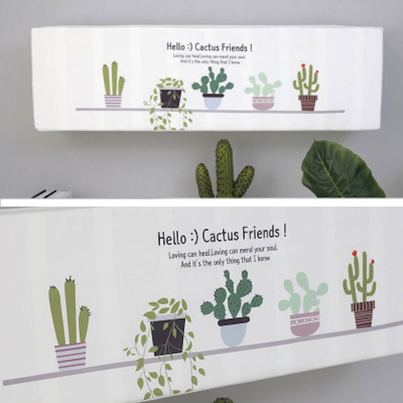 Indoor Air Conditioner Cover 1 5p Wall Mounted Decorative Hood Embroidery 74 78 81 85 89 95 X 27 19cm Cactus White