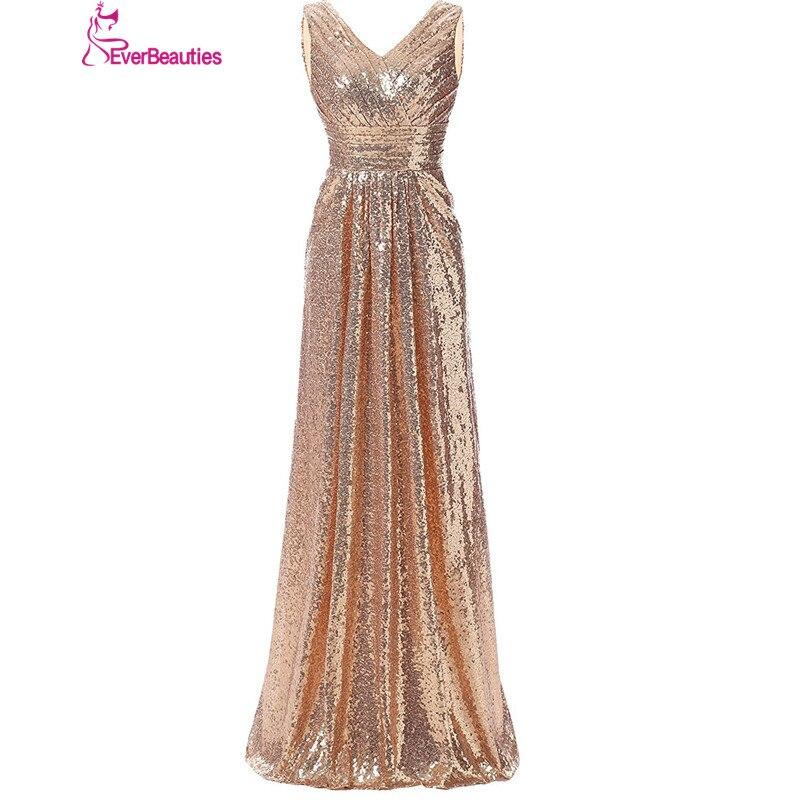 Bridesmaid     Dresses   Long 2019 Sequins V Neck Pleat High Quality Robe Demoiselle D'honneur Wedding Party   Dresses