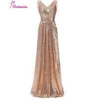 Bridesmaid Dresses Long 2017 Sequins V Neck Pleat High Quality Robe Demoiselle D Honneur Wedding Party