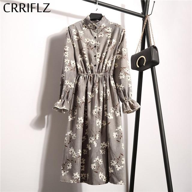 High Elastic Waist Corduroy Vintage Dress A-line Women Full Sleeve Flower Plaid Print Dresses Slim Feminino CRRIFLZ 8