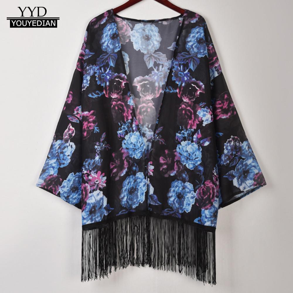 shirts women 2018 kimono cardigan Women Flower Print Cover Blouse Tassel Long Sleeve Smock Tops Coat korean fashion clothing cardigan