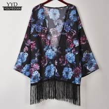 shirts women 2018 kimono cardigan Women Flower Print Cover Blouse Tassel Long Sleeve Smock Tops Coat korean fashion clothing(China)