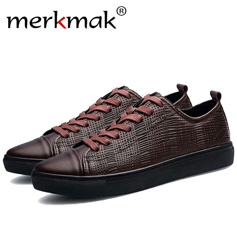 Merkmak Trendy Casual Men Shoes Spring Autumn Breathable Leather Ankle Footwear Big Size 38-47 Man Flats Soft Footwear Wholesale 5pcs dc5v 60a 300w switching power supply adapter driver transformer for 5050 5730 5630 3528 led rigid strip light