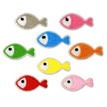 Fish Iron Patches for Clothing Sticker Fabric Embroidered Patch Iron on Clothes Badge for Backpack Accessories DIY Sew on Stripe(China)