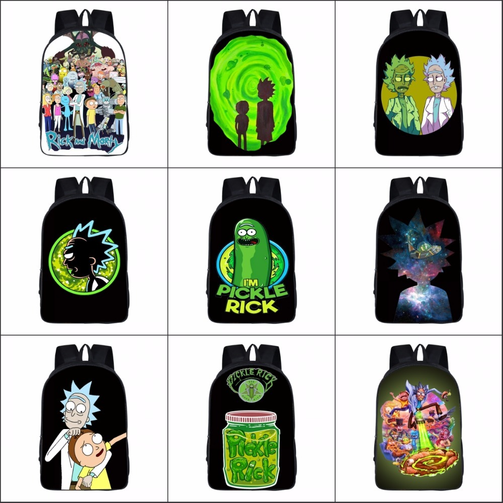 Rick and Morty backpack cartoon Canvas casual teenagers Student School Bags travel Shoulder bag men women package 16 anime rick and morty backpack schoolbag casual teenagers men women student canvas school bags travel bags knapsack mochila
