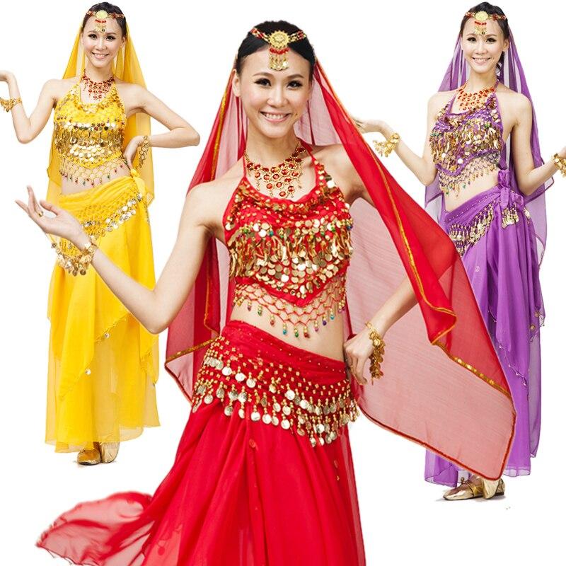 Magdansuppsättning indiska danskläder kostymprestanda slitage huazhung kjol mage kedje bit set