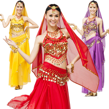 Belly dance set indian clothes costume performance wear huazhung skirt belly chain piece