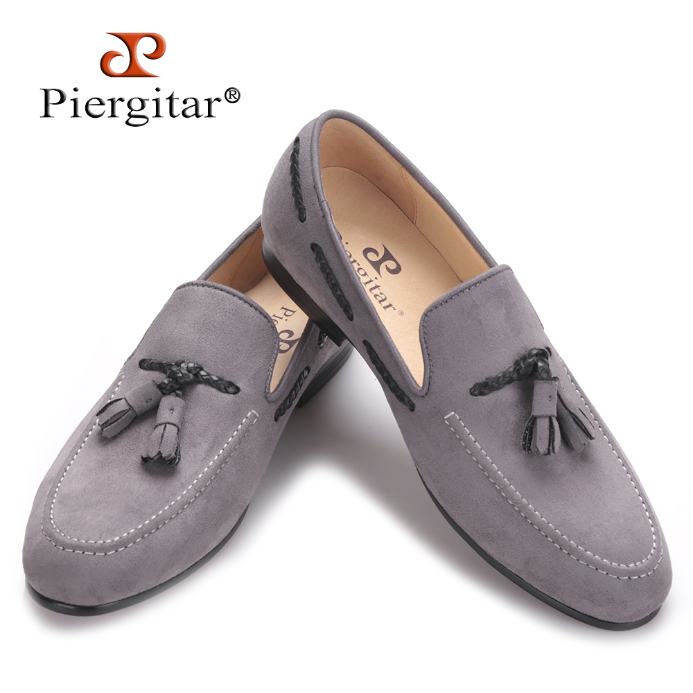 Piergitar 2017 Handmade men velvet shoes with new design of tassel British style men casual shoes Party and Prom men's loafers stylish men s casual shoes with breathable and metal design