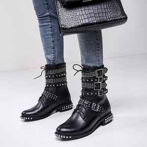 Image 5 - MORAZORA 2020 plus size 33 43 womens boots genuine leather round toe autumn winter Motorcycle boots black rivet ankle booties
