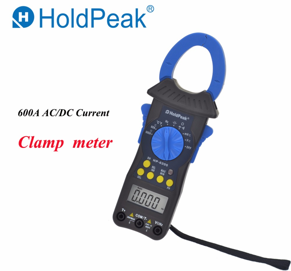 Multimeter HoldPeak HP-6205 Digital Clamp Meter 600A AC DC Current Clamp Meters Voltmeter Ohm Cap Auto Range Electronic meter mini multimeter holdpeak hp 36c ad dc manual range digital multimeter meter portable digital multimeter page 1