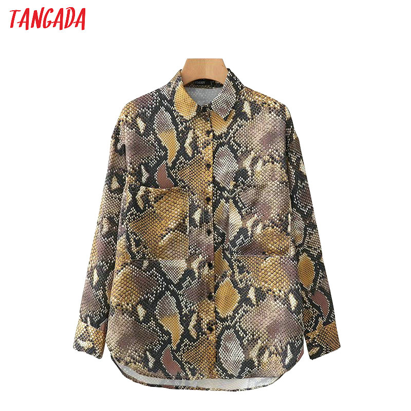 Tangada Korea Fashion Women Snake Print Blouse Pockets Long Sleeve Vintage 2019 Ladies Shirt Vintage Causal Brand Tops XD466