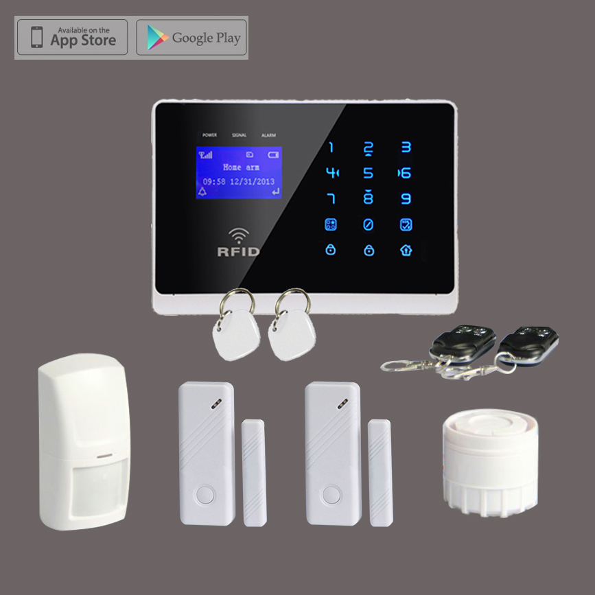Wireless GSM SMS Text Home Security Alarm System Remote Control, 4Band, LCD Display Touchscreen,Support RFID Swipe Card Function wireless gsm sms text home security alarm system remote control 4band lcd display touchscreen support rfid swipe card function