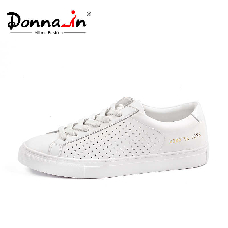 Donna-in Hollow Breathable Flat Sneakers Women Genuine Leather 2019 Summer Fashion Casual Lace up Shoes White Black Pink Ladies