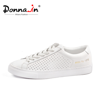 Donna-in Hollow Breathable Flat Sneakers Women Genuine Leather 2020 Summer Fashion Casual Lace up Shoes White Black Pink Ladies