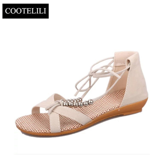 COOTELILI Women Wedges Sandals Low Heels Ladies Gladiator Sandals Lace up  Fashion Summer Shoes String Bead Bohemian 1e06754921