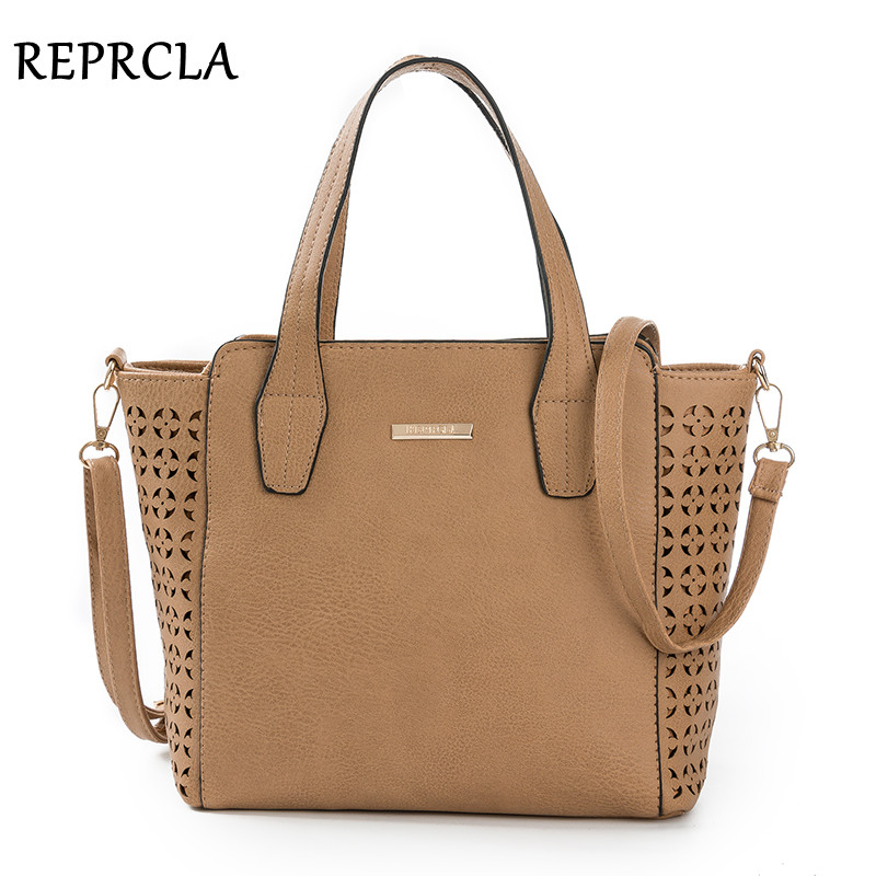 REPRCLA New Vintage Women Bags Designer Handbags PU Leather Shoulder Bags Crossbody Ladies Top-handle Bag Hollow out Tote