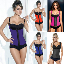 2015 NEW Solid Color Tank top Waist Workout Cincher Underbust Steel Boned Body Shaper Shapewear latex rubber Corset S-3XL Women