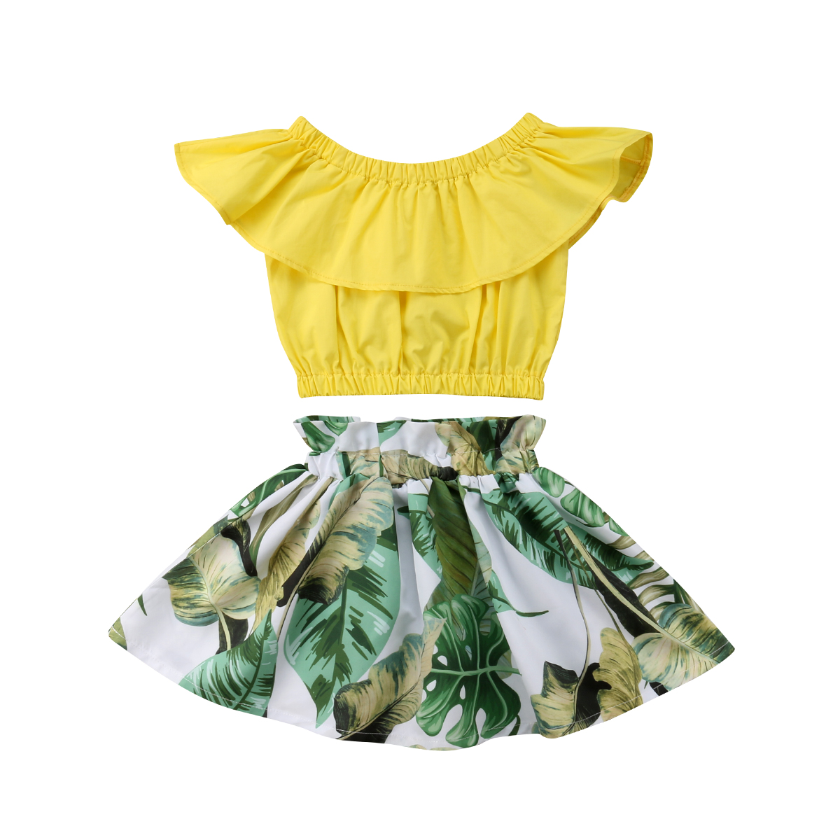 2019 New Summer Toddler Kid Baby Girl Sleeveless Clothes Sets O-neck Tops Floral Dress 2Pcs Cotton Outfits Clothes Wholesale Hot(China)