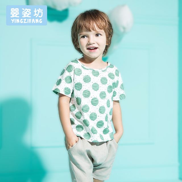 Free Shipping 2016 Summer Casual Baby Boys Girls Sets Cute Style Wave Cotton Short Sleeve Shirt + Pants