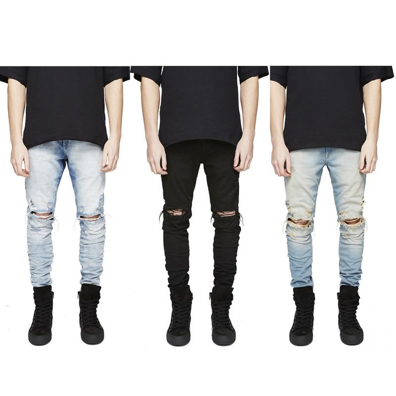 Famous Brand Designer Slim Fit Ripped Jeans Men Hi Street