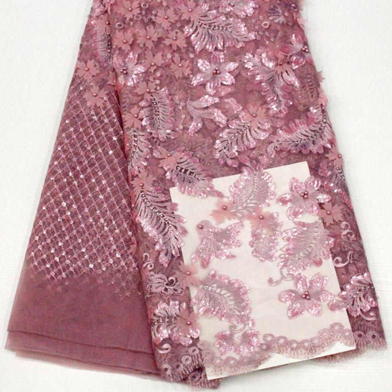 Nigeriano tessuto di pizzo netto con paillettes di alta qualità in rilievo ricamato Francese tulle del merletto del tessuto per il vestito da partito DG028-in Pizzo da Casa e giardino su  Gruppo 1