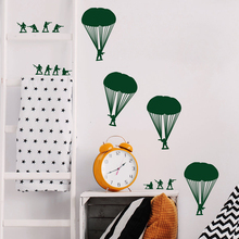 Small Army Men Bucket of Soldiers Paratroopers - Wall Decal Custom Vinyl Art Stickers For Schools, Kids Rooms, Nurseries F843