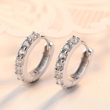 1Pair Hot Euramerican Trendy Charming Crystal Cooper Women Lady Girl Hoop Earrings Popular Jewery
