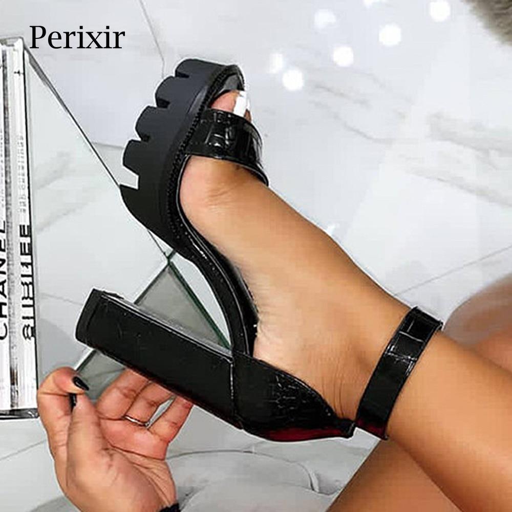 Perixir femmes chaussures à talons hauts sandales cheville Wrap boucle sangle couverture talon chaussures talon carré mode dame sandales