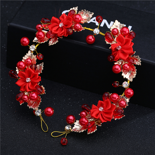2017 The bride hair accessory red lace married hair accessory Wedding Hair Accessory
