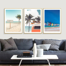 Nordic Sea Poster Canvas Coconut Painting Tree Quadro Wall Pictures Bus Prints Cuadros Decoracion Travel Home Decor Unframed
