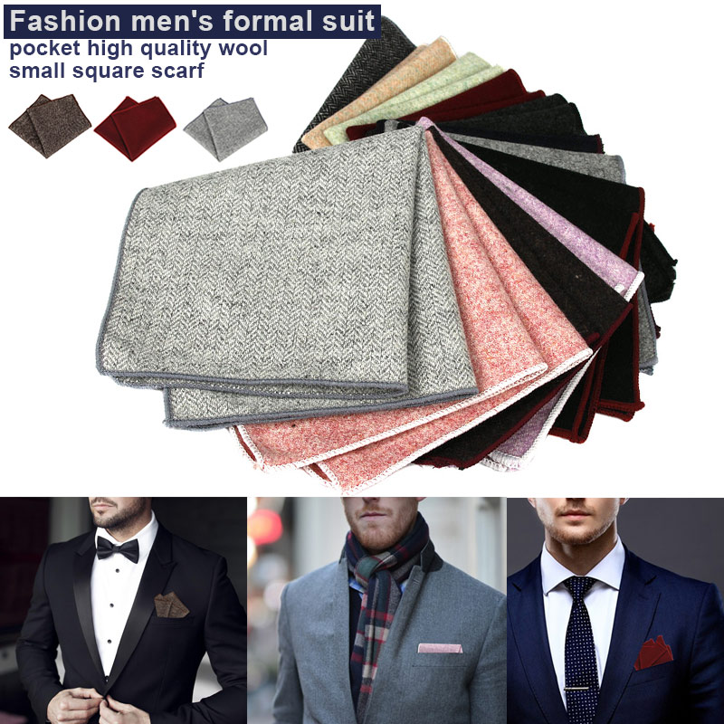 Vintage Square Hankerchief Wool Hankies Men's Pocket Solid Handkerchiefs 23 X 23cm LL@17