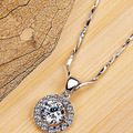 Queen Brilliance Luxury Quality Shinning 2 Carat Halo Pendant Necklaces Jewelry