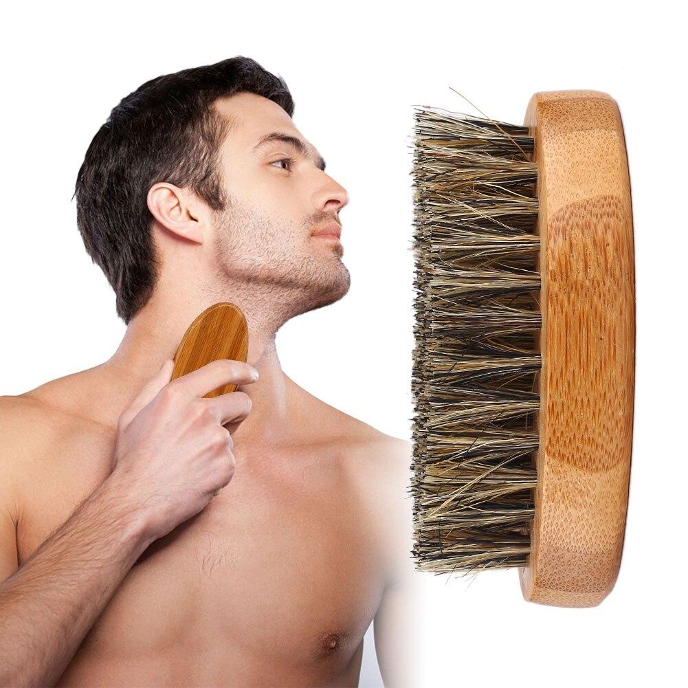 8cm Men Beard Brush Natural Boar Bristle Shaving Comb Face Massage Handmade Yellow Mustache Brush Beauty Care