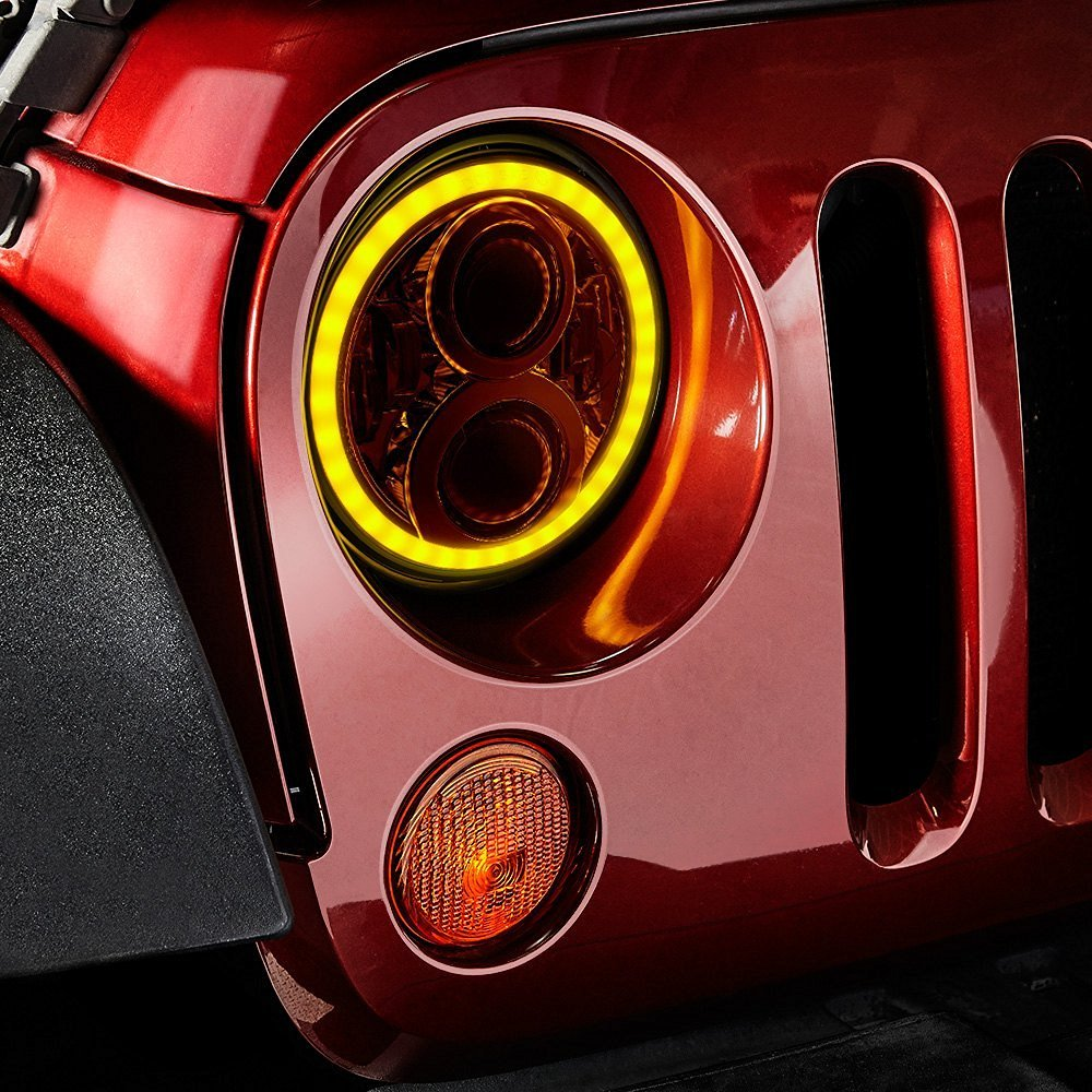 2x 7 Inch Round Headlight 50w High Low Beam with Amber Signal White DRL Halo For Jeep Wrangler JK TJ YJ czg 7502 7 inch round led headlight 50w high low beam with amber drl 7 led head light for jeep wrangler for harley motorcycles