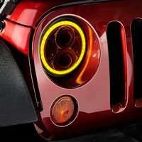 2x 7 Inch Round Headlight 50w High Low Beam With Amber Signal White DRL Halo For
