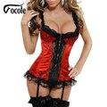 Vocole Women Sexy Red Lace Rim Lingerie Underwear Lace Up Bustiers Corset Plus Size S-XXL