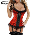 Vocole mulheres sexy lace red rim lingerie underwear lace up corpetes corset plus size s-xxl
