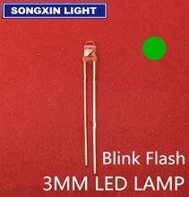 1000 pces 3mm luz verde emissor diodo automático piscando led flash controle piscando 3mm led pisca diodo 1.5hz danshan g