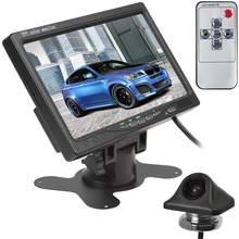 7 Inch TFT LCD Color Screen Headrest Car Rear View Monitor DVD VCR Monitor + E335 170 Degree Embedded Night Vision Car Camera