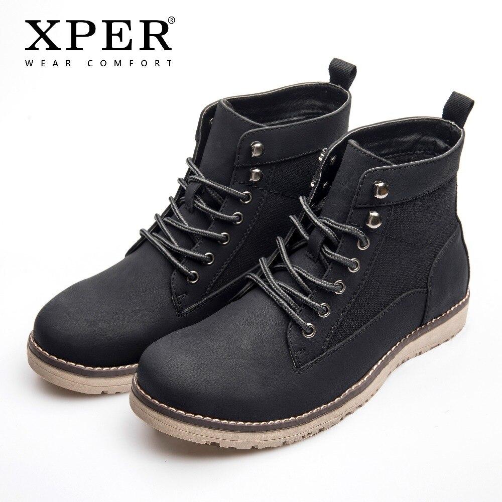 XPER совершенно новые сапоги Для мужчин кожа теплые зимние ботинки черные повседневные ботинки Осенняя водонепроницаемая одежда ботильоны б...